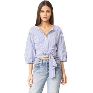 J.O.A. Cropped Puff Sleeve Striped Blouse